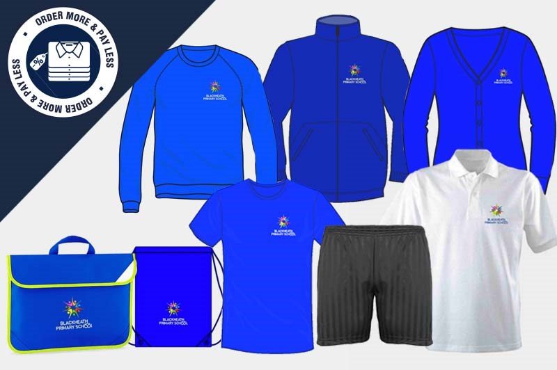 Bundle offering a full uniform set - PE Pack of T Shirt, Shorts and PE Bag plus 2 Sweatshirts, 1 Cardigan, 1 poloshirt, Book Bag and a Fleece Jacket!