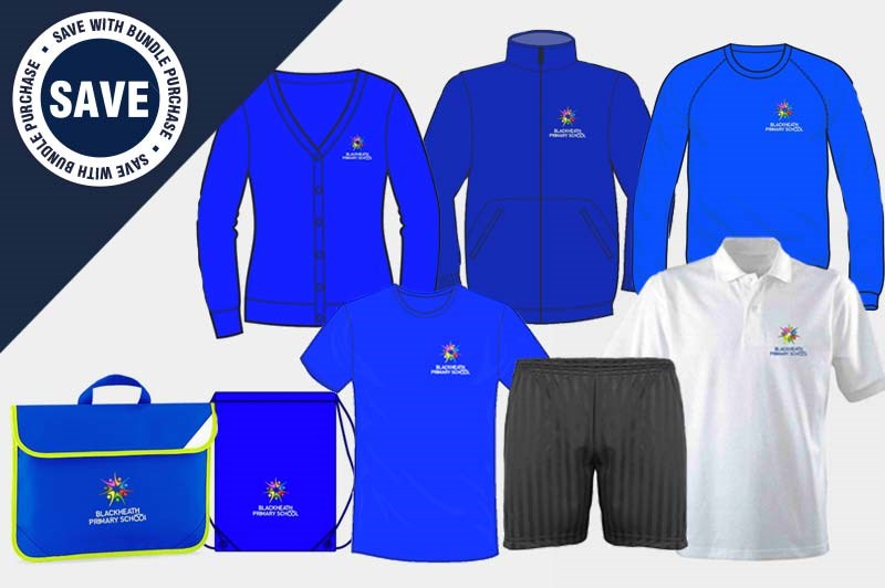 Bundle offering a full uniform set - PE Pack of T Shirt, Shorts and PE Bag plus 2 Cardigans, 1 Sweatshirt, 1 poloshirt, Book Bag and a Fleece Jacket!