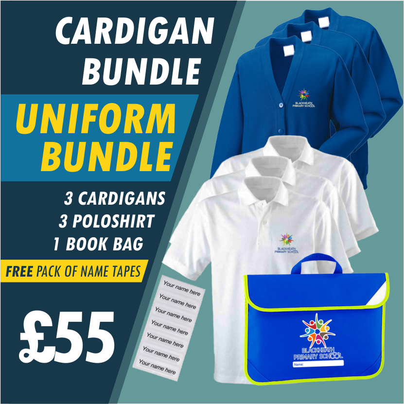 Bundle offer of 3 Cardigans, 3 poloshirts and Book Bag plus Free name tapes