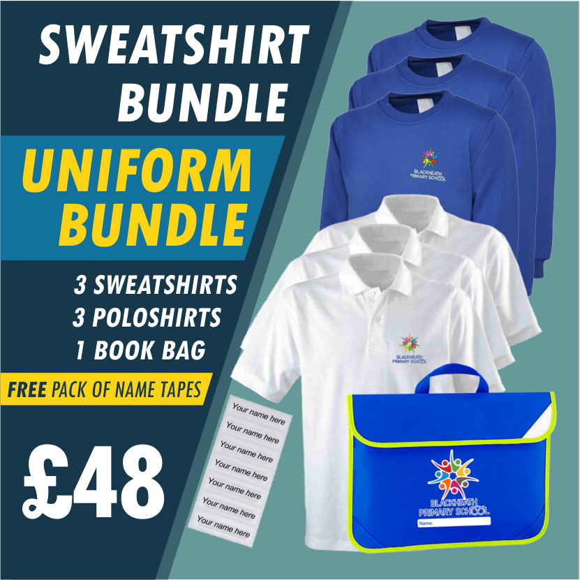 Bundle offer of 3 Sweatshirts, 3 poloshirts and Book Bag plus Free name tapes