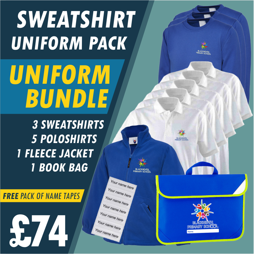 Bundle offer of 3 Sweatshirts, 5 poloshirts, 1 Fleece Jacket plus a Book Bag AND Free name tapes